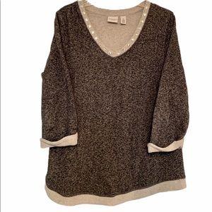 Chico's Gray Marled Sweatshirt Studded V-Neck
